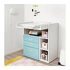 Пеленальный стол с ящиками IKEA STUVA / FRITIDS 90x79x102 см белый голубой 792.531.60, фото 5