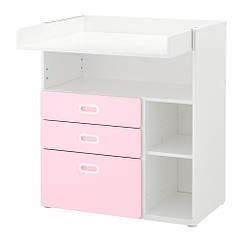 Пеленальный стол с ящиками IKEA STUVA / FRITIDS 90x79x102 см белый розовый 092.672.69