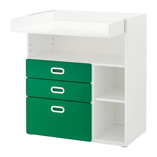 Пеленальный стол с ящиками IKEA STUVA / FRITIDS 90x79x102 см белый зеленый 092.672.74