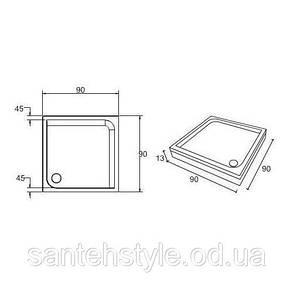Душевой квадратный акриловый поддон Fibrex Elisa 90х90, фото 2