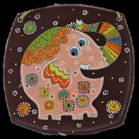 """Тарелка (б.кв.) """"Слон розовый хобот вверх"""""""