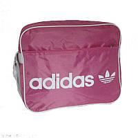 Молодежная сумка-планшет текстиль горизонтальная розово-белая