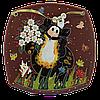 Тарелка (б. кв) «Кот и мышь с букетом»