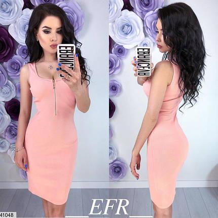 Легкое платье короткое змейка облегающее без рукав розовое, фото 2