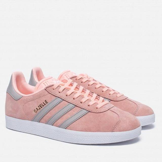 Женские кроссовки Adidas gazelle розовые с серым (реплика)