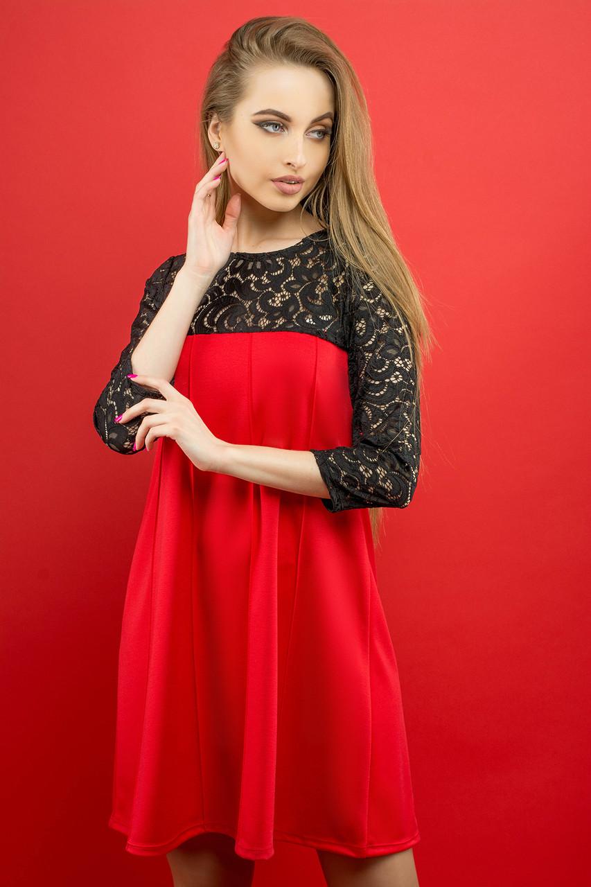f74a0370529 Купить Молодежное платье с гипюром красного цвета. Модель 2003. в ...