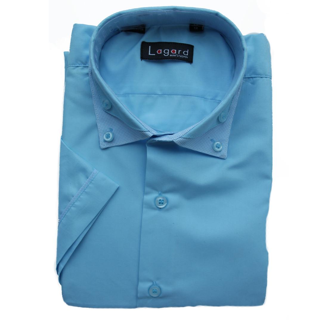 Рубашка для мальчика голубая комбинированная с коротким рукавом Lagard. Притал.