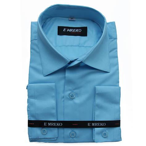 Рубашка для мальчика Emreko с длинным рукавом  голубая, фото 2
