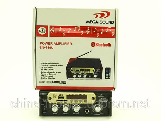Підсилювач звуку 30W Mega-Sound AV-666U c Bluetooth FM MP3, фото 2