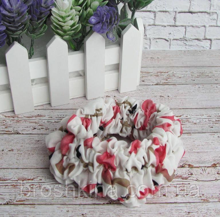Объемная тканевая резинка для волос с рисунком фламинго белая