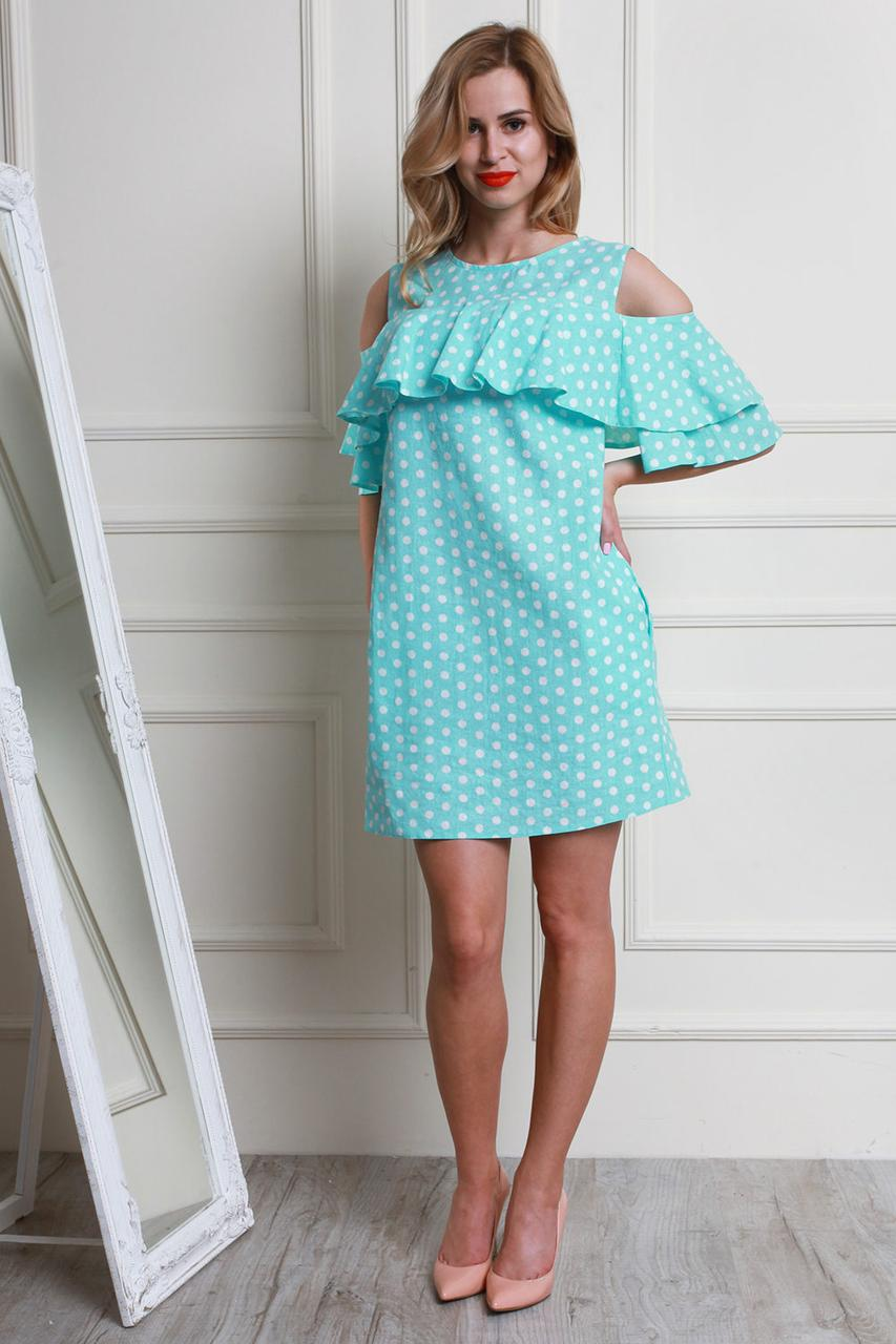 1ba26464a63 Летнее Платье Из Льна Модных Расцветок в Горох — в Категории