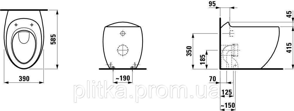 Унитаз напольный Laufen Allessi One H8219714000001 (под инсталляцию), фото 2