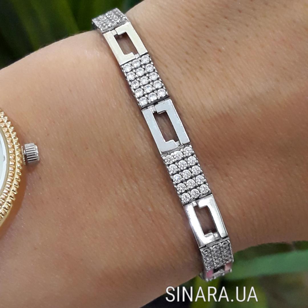 Срібний родированный браслет з цирконієм