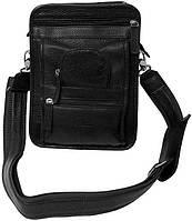 Многофункциональная  мужская сумка кожаная Vip Collection Артикул: 2719B flat коричневая