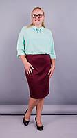 Пион. Нарядна юбка больших размеров. Бордо., фото 1