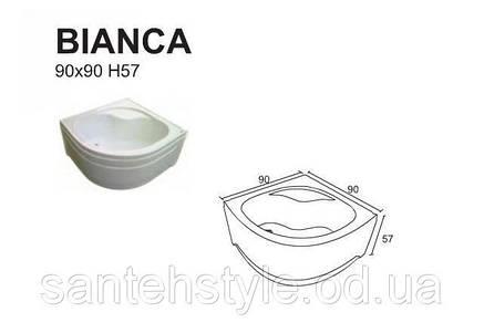 Душевой полукруглый акриловый поддон Fibrex Bianca 90х90, фото 2
