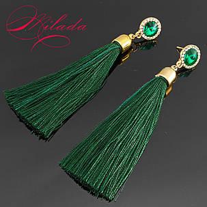 Серьги - кисточки зелёные., фото 2