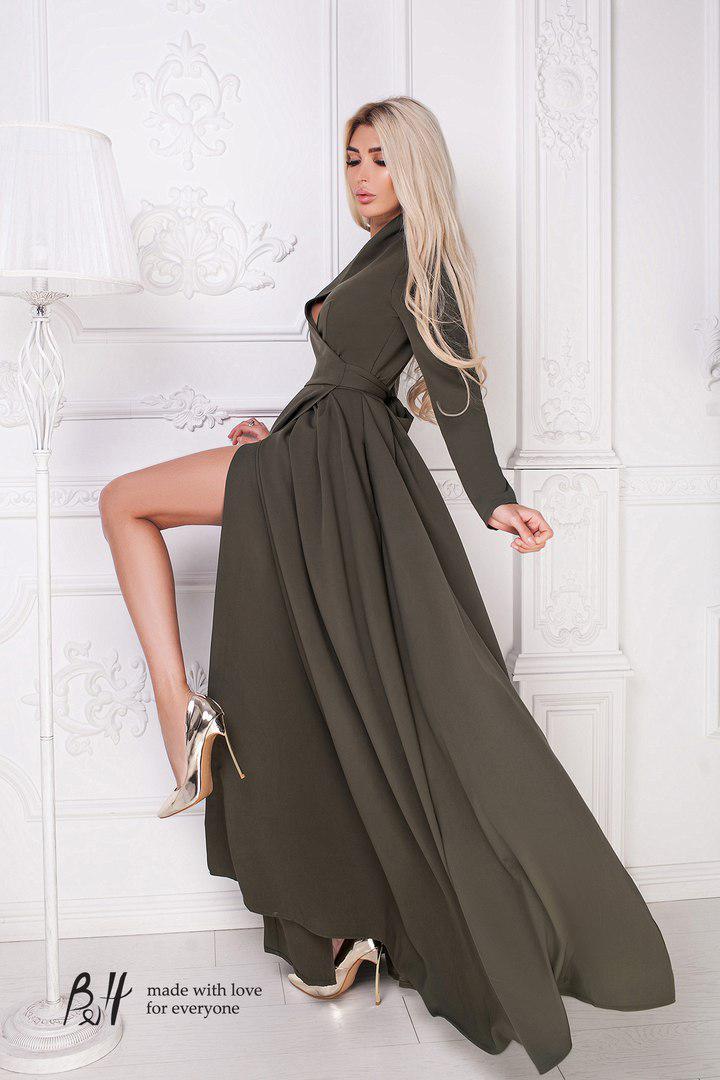 29e4413e96b Женское длинное платье на запах с длинным рукавом. ТМ B H -  Интернет-магазин