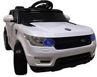 Детский электромобиль джип Range Rover белый + резиновые EVA колеса + 2 мотора по 30 Ватт