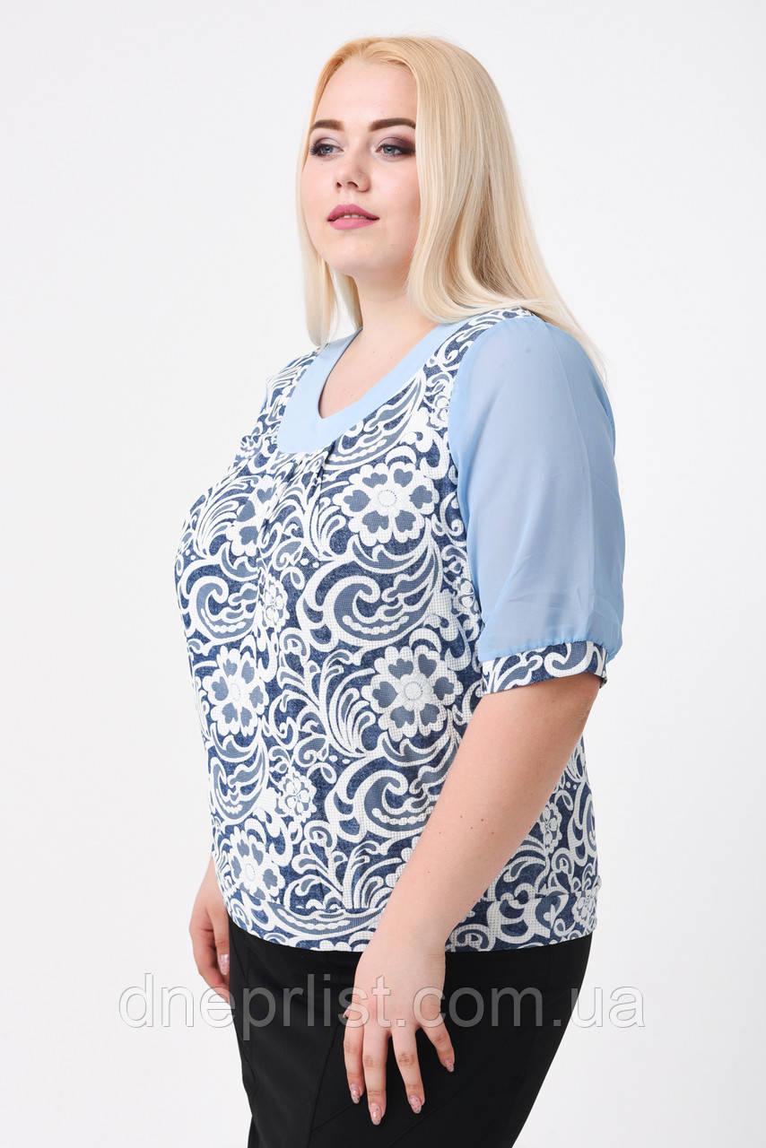 """Блуза женская с шифоном (р. 52-58) """"Цветочный рисунок"""", голубая"""