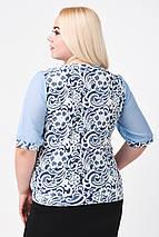 """Блуза женская с шифоном (р. 52-58) """"Цветочный рисунок"""", голубая , фото 2"""