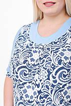 """Блуза женская с шифоном (р. 52-58) """"Цветочный рисунок"""", голубая , фото 3"""