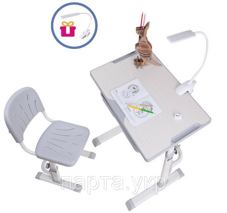Растущая детская парта со стульчиком Cubby LUPIN, серый и лампа