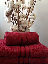Махровое полотенце 30х50, 100% хлопок 420 гр/м2, Пакистан, Бордо, Без борда