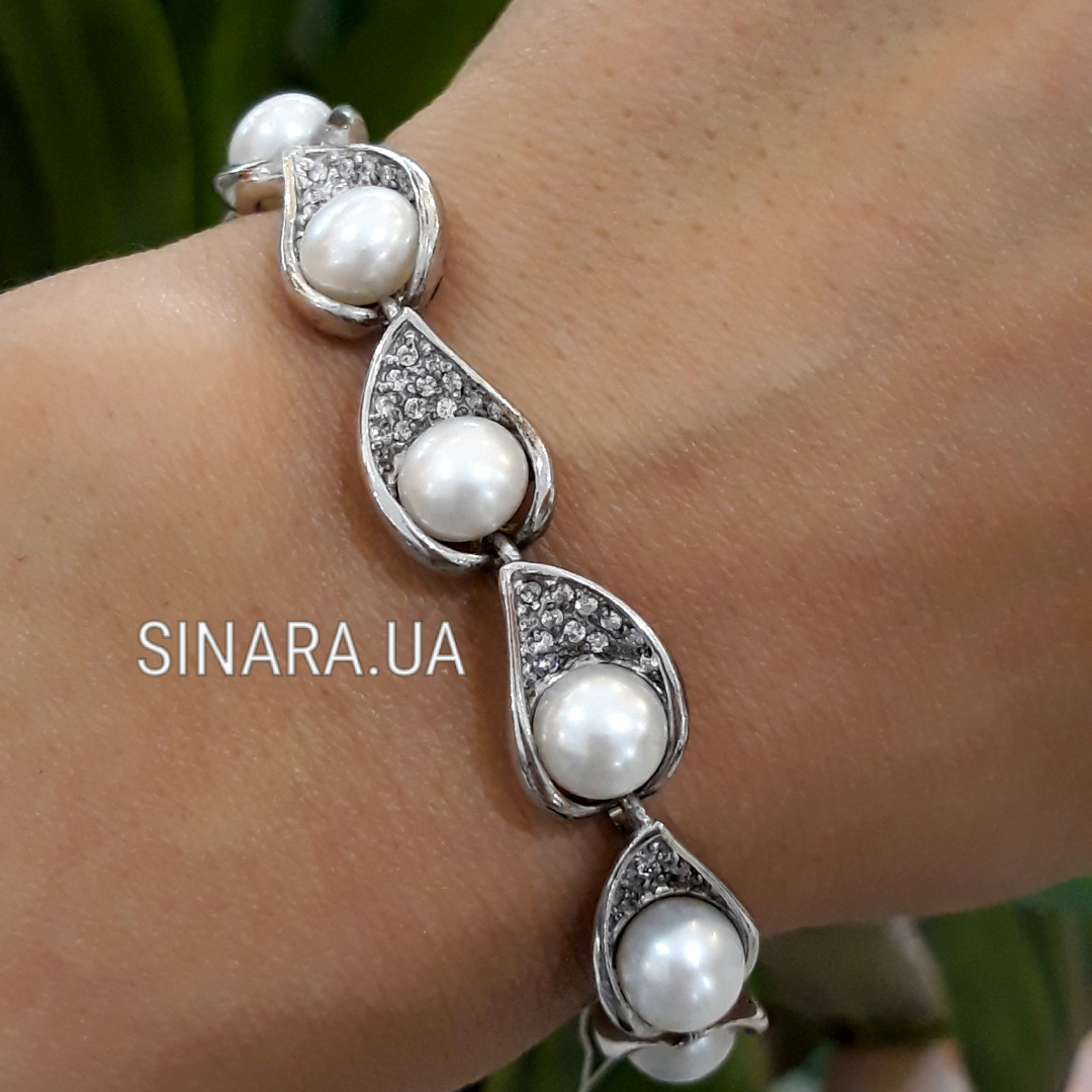 Серебряный браслет с натуральным жемчугом - Браслет с жемчугом родированное серебро