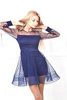 Платье женское сетчатое в горошек с подкладкой из шелка P9713, фото 1