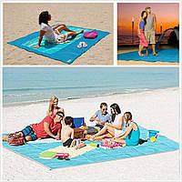 Пляжка підстилка, коврик-антипісок - Sand Free Mat (Синій, Рожевий, Салатовий), фото 1