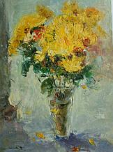 """Картина нарисована маслом на холсте ( 43 х 32 см.) """"Желтые хризантемы"""" ручная работа"""