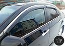 Дефлекторы окон (ветровики) с хром накладкой Honda CR-V 2012 -> 4D  4шт (Hic), фото 2