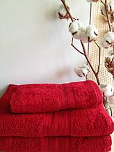 Махровое полотенце 30х50, 100% хлопок 420 гр/м2, Пакистан, Красный, Без борда