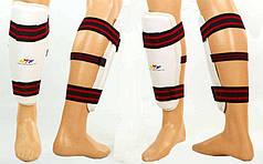 Защита голени для тхэквондо PU WTF  (PU, р-р S-XL, белый, крепление на липучках)