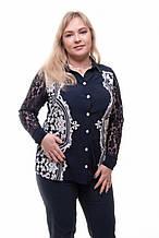 Блуза жіноча, рукави гіпюр (р. 52-58) синя