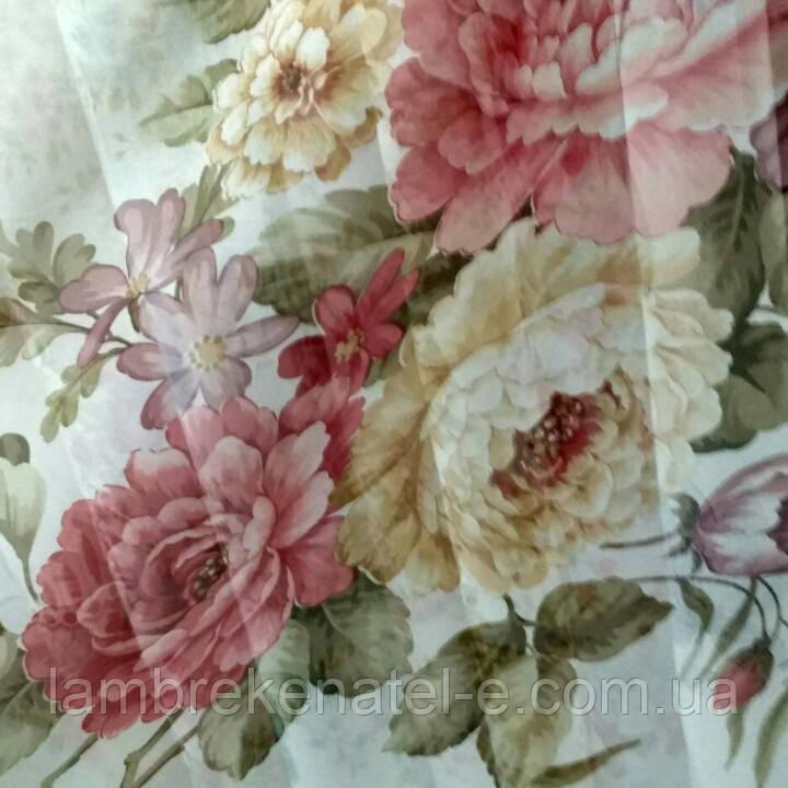 Шифоновый тюль принт Цветы