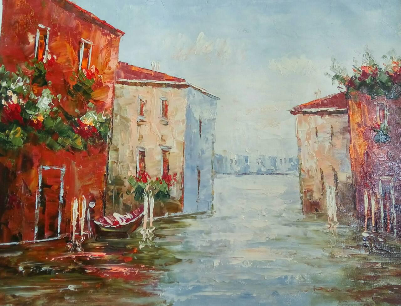"Картина нарисована маслом на холсте ( 43 х 32 см.)  ""Утренняя Венеция"" ручная работа"