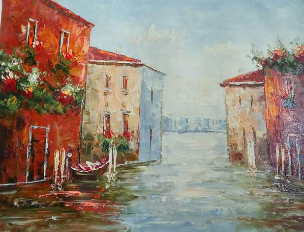 "Картина нарисована маслом на холсте ( 43 х 32 см.)  ""Утренняя Венеция"" ручная работа, фото 2"
