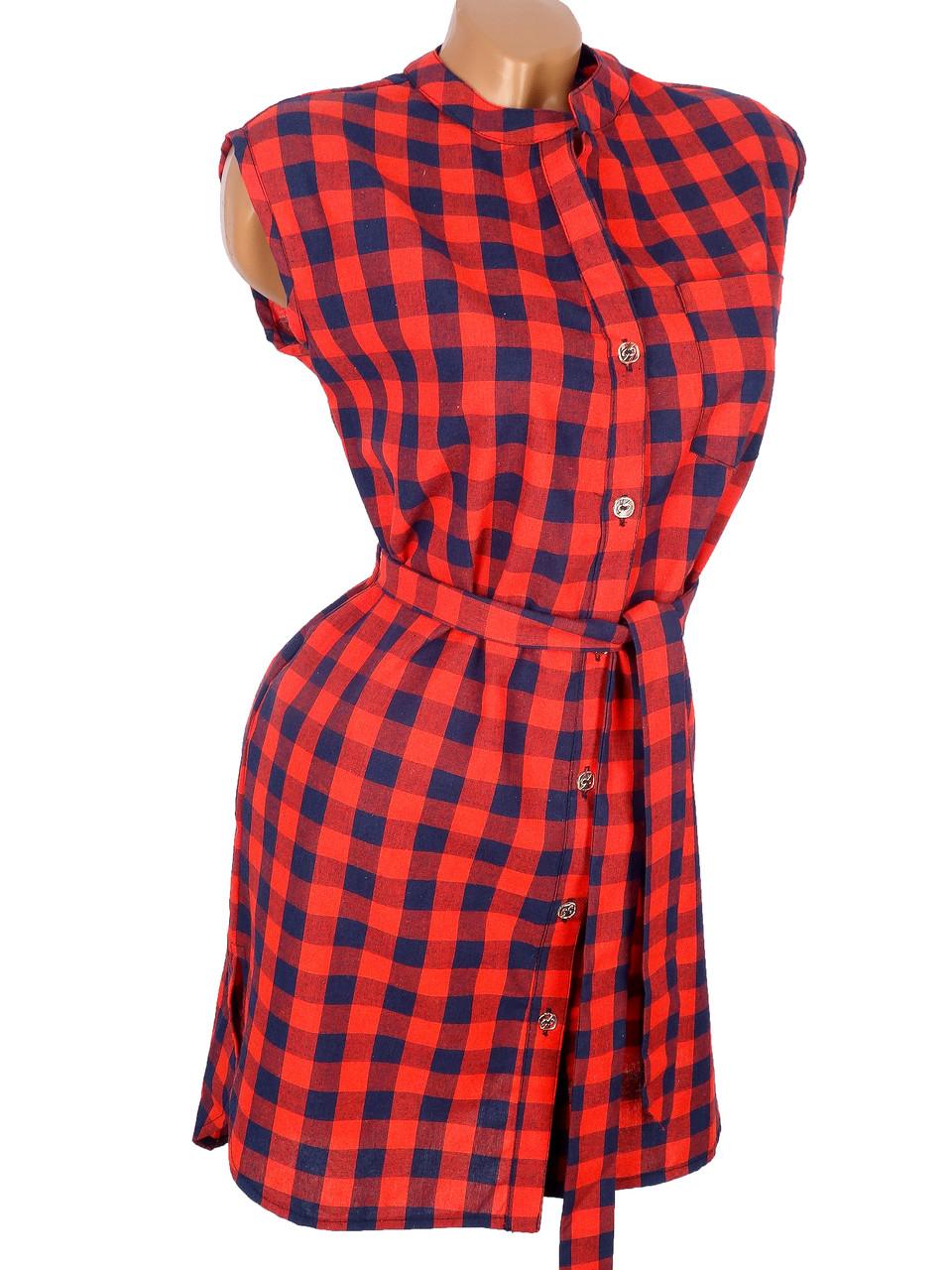 Платье-рубашка без рукавов 46-48