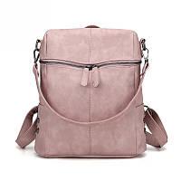 Рюкзак сумка женский с заклепками по бокам (розовый), фото 1
