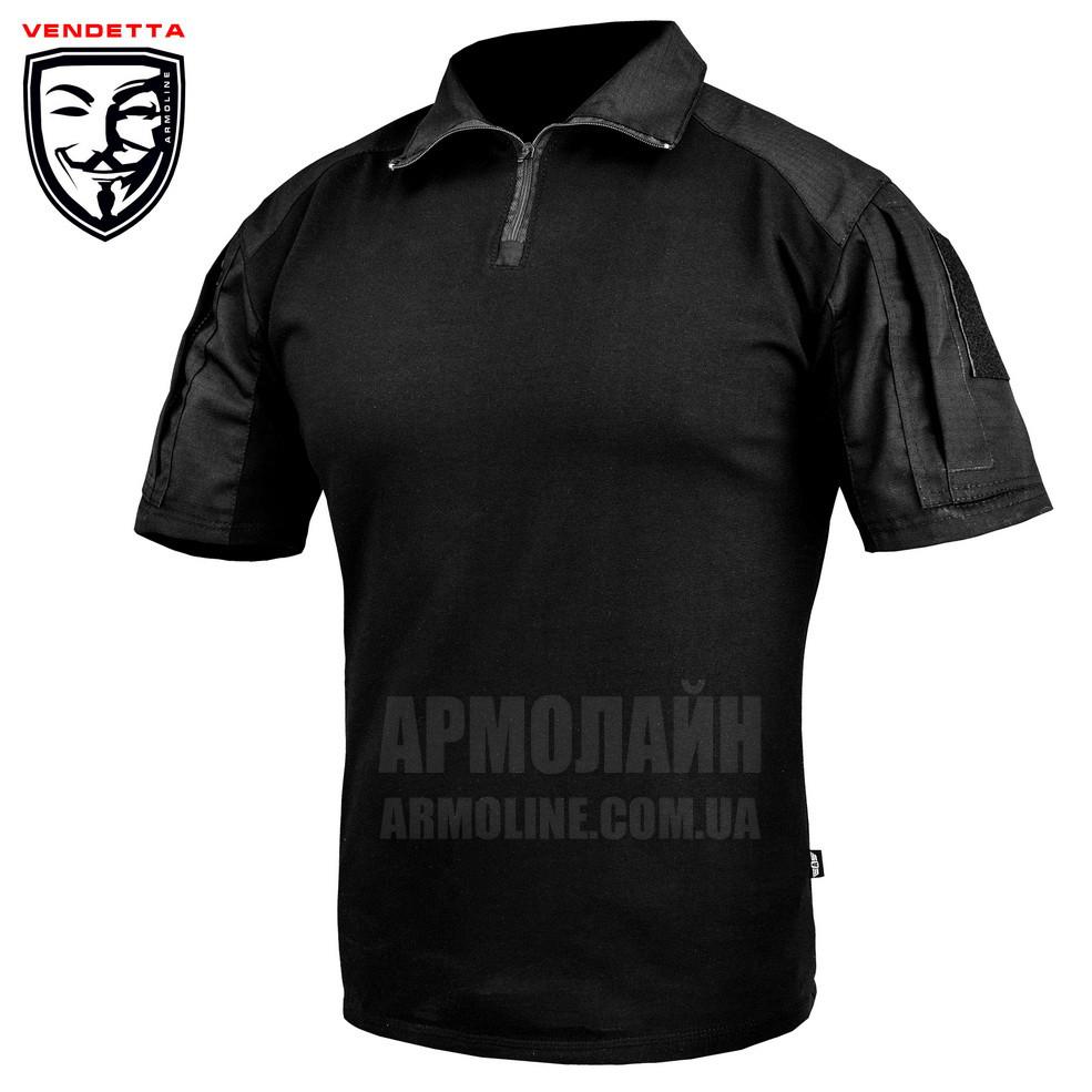 """Рубашка тактическая короткий рукав """"VENDETTA"""" Black (ВИДЕО)"""