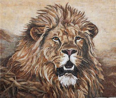 Картина Лев из мозаики