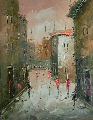 "Картина нарисована маслом на холсте ( 43 х 32 см.)  ""Переулок"" ручная работа, фото 2"
