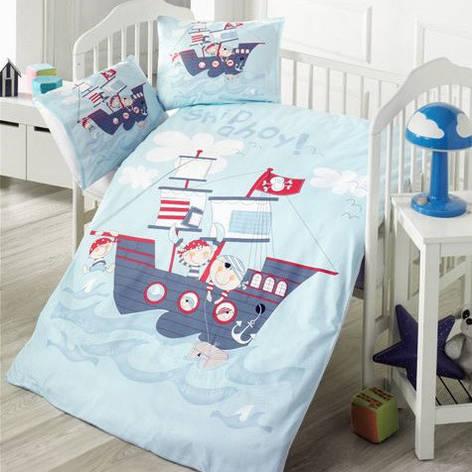 Детский постельный комплект Ранфорс Премиум 100х150 КОРАБЛИК, фото 2