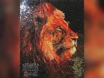 Картина Лев из мозаики цветного стекла