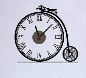 """Настенные Виниловые Часы наклейки """"Рэтро велосипед"""""""