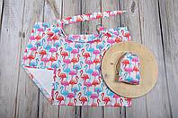 Накидка для кормления+сумочка-чехол Фламинго