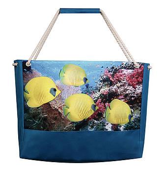 Пляжная сумка Желтые рыбки Бирюза