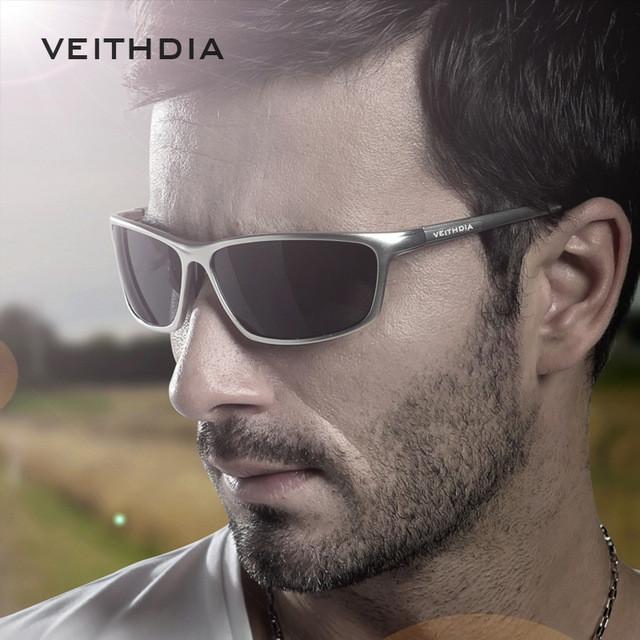 Окуляри чоловічі сонцезахисні поляризовані VEITHDIA. Оправа срібло, скла сірі